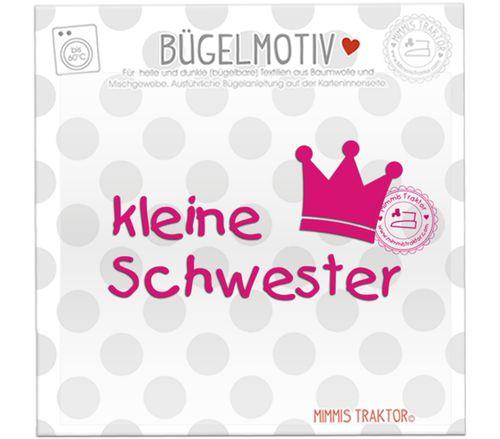 Mimmis Traktor® Bügelbild kleine Schwester mit Krone PINK