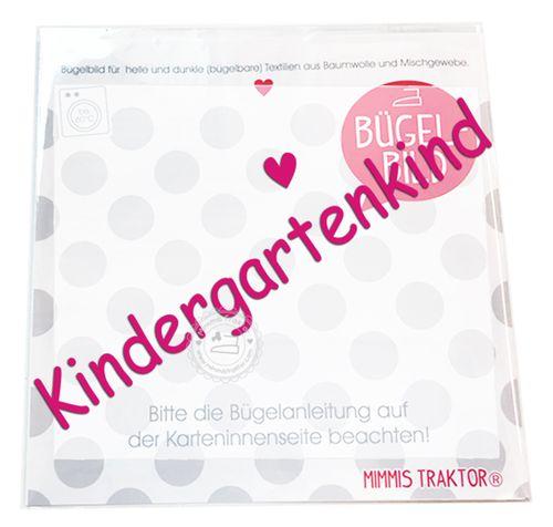 Mimmis Traktor® Bügelbild Kindergartenkind 16 cm x 2,4 cm PINK – Bild 1