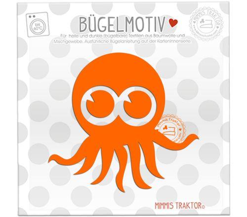 Mimmis Traktor® Bügelbild Krake Octopus 10,5 cm x 9,7 cm ORANGE