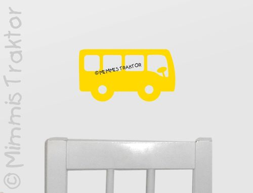 Mimmis Traktor® Wandtattoo Bus 20 cm x 10,8 cm GELB