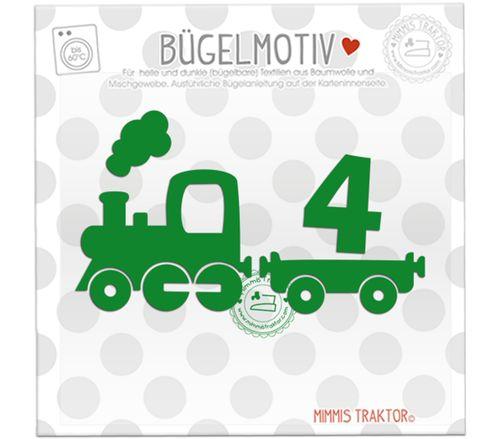 Mimmis Traktor® Bügelbild Zug Lokomotive mit Zahl 12 x 7 cm GRÜN, mit Zahl 1, 2, 3 oder 4 – Bild 4