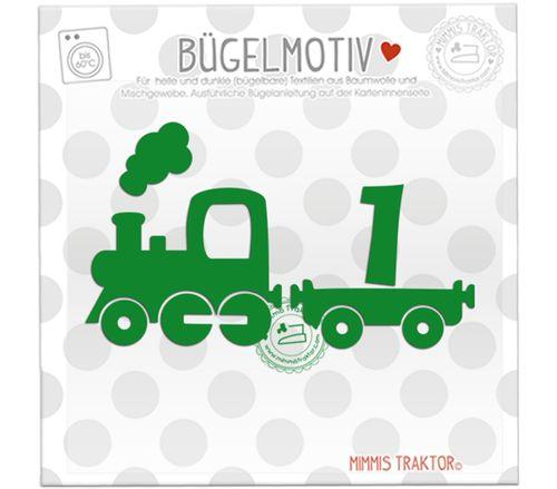 Mimmis Traktor® Bügelbild Zug Lokomotive mit Zahl 12 x 7 cm GRÜN, mit Zahl 1, 2, 3 oder 4 – Bild 1