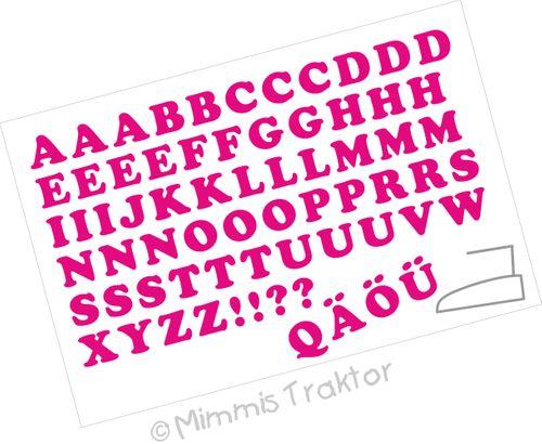 Mimmis Traktor® Bügelbild Alphabet 2,8 cm Fettschrift WAHLFARBEN – Bild 4