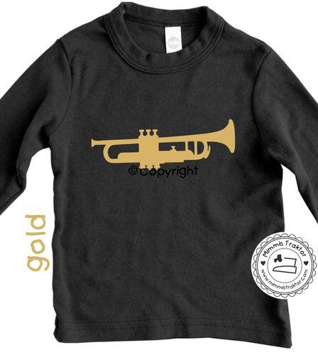 Mimmis Traktor® Bügelbild Gr. L Trompete 17 x 6 cm Flexfolie GOLD