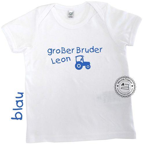 Mimmis Traktor® Bügelbild großer Bruder + NAME + Traktor BLAU
