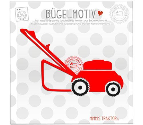 Mimmis Traktor® Bügelbild Rasenmäher 12,5 cm x 8 cm ROT SCHWARZ