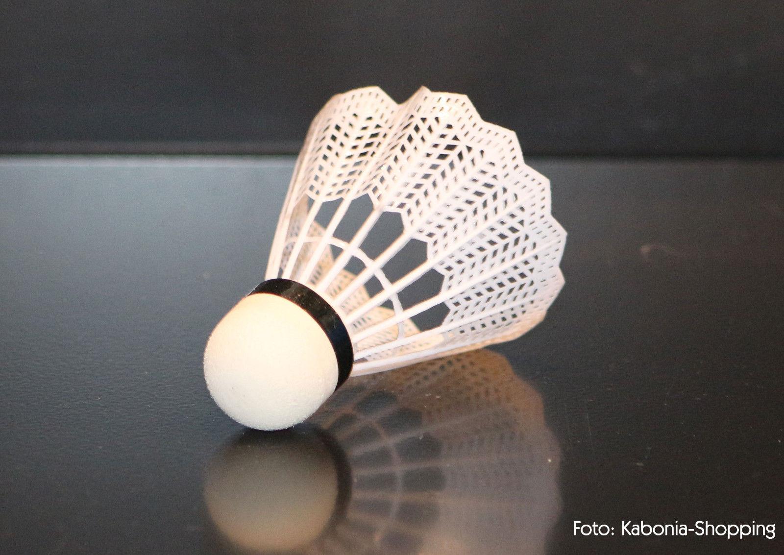 6x Shuttles Badmintonball Federball weiß Nylonshuttle Plastik NEU Alert