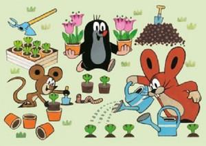 """Der kleine Maulwurf - """"mit Maus und Hase am pflanzen"""""""