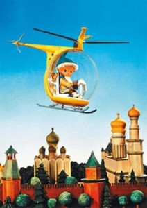 Sandmann im Hubschrauber über Moskau