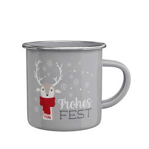 Emaillebecher »Frohes Fest« (Rentier)