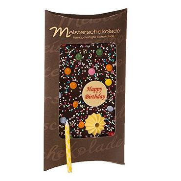 Meisterschokolade-Bedruckte dunkle Schokolade Happy Birthday