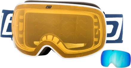 Mutant 0.5 JNR Dirty Dog Goggle Rahmenfarbe - Glasfarbe: White - Grey/Blue Fusion Mirror & Yellow
