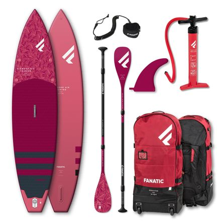 SUP Set Diamond Air Touring Board, Diamond C35 Paddel und Leash Fanatic 2020