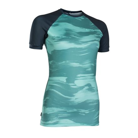 Rashguard Women SS sea green/dark blue ION 2019