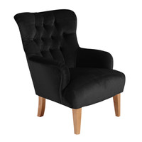 Sessel »Brandon« Chesterfield Samtvelours Schwarz