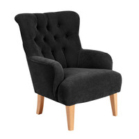Sessel »Brandon« Chesterfield Veloursstoff Schwarz