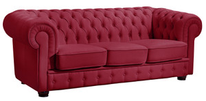 3-Sitzer Sofa »Bridgeport« Chesterfield Kunstleder rot