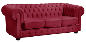 3-Sitzer Sofa »Bridgeport« Chesterfield Nappaleder rot