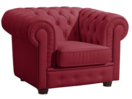 Sessel »Bridgeport« Chesterfield Nappaleder rot