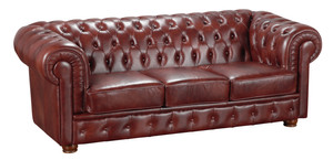 3-Sitzer Sofa »Bridgeport« Chesterfield Leder rot