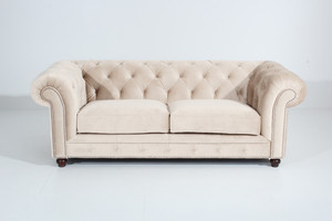 Sofa 2,5-Sitzer Chesterfield »Orleans« Samtvelours Farbe Creme