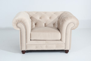 Sessel Chesterfield »Orleans« Samtvelours Farbe Creme