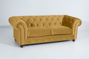 Sofa 2,5-Sitzer Chesterfield »Orleans« Samtvelours Farbe Mais