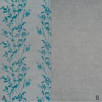 Dekostoff Vorhangstoff schwer entflammbar DIMOUT Blättermuster blau