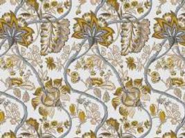 Dekostoff Vorhangstoff Satin CONTINENT 2435/90 Blumenmuster grau