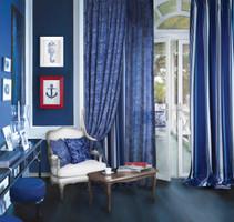 Dekostoff Vorhangstoff Samt CONTINENT 2439/73 Ornamente Paisley blau