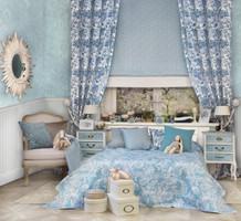 Dekostoff Vorhangstoff Satin CONTINENT 2443/73 Ornamente Paisley blau