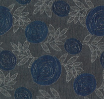 Möbelstoff Falun 555 Blumenmuster blau-grau