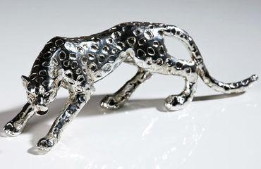 Gepard Modell 28cm Silber aus Poly Leopard Tiger Panther Chrom Dekoration