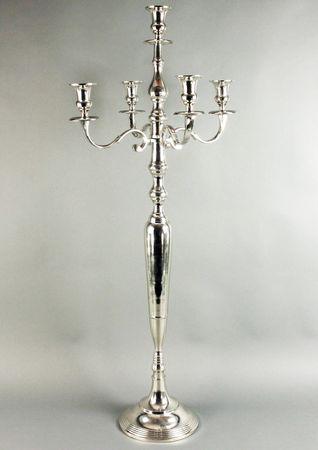 Hochwertiger Kerzenleuchter Silber 105cm Barock vernickelt Kerzenständer Kandelaber