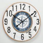 Große Wanduhr Gordon D75cm Maritim Holz Weiß Blau Uhr Strand Natur Boot