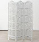 Edler Paravent Doloria Weiß Mangoholz 188 x 137cm Holz Raumteiler Weiss