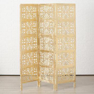 Paravent Platory Spanische Wand Mangoholz 180x150 cm Gold 3-Teilig
