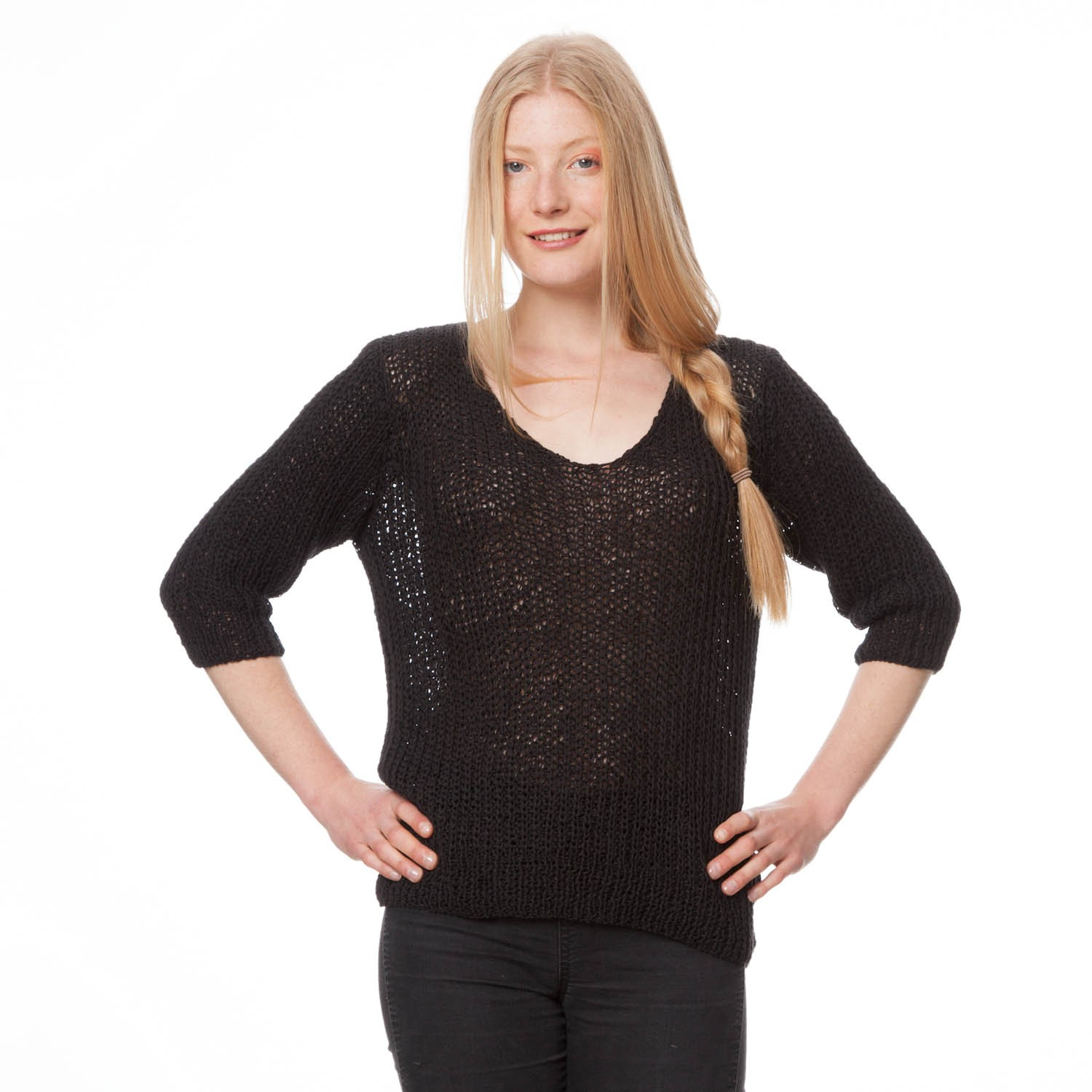 THOKKTHOKK Strickpulli 3/4 Arm black