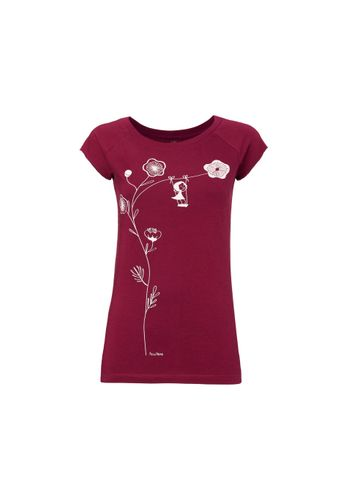 FellHerz Women T-shirt Schaukelmädchen Dark Red Organic Fair