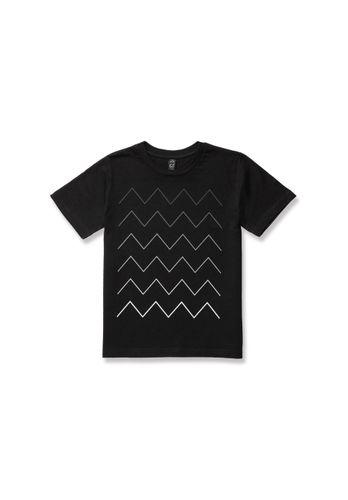 ThokkThokk Kinder T-Shirt Thin ZigZag Gradient Schwarz Bio