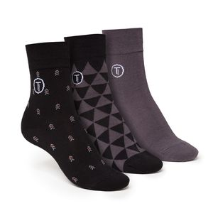 ThokkThokk 3er Pack Mid-Top Socken Triangle/Arrow/Grey aus Biobaumwolle // GOTS & Fairtrade zertifiziert