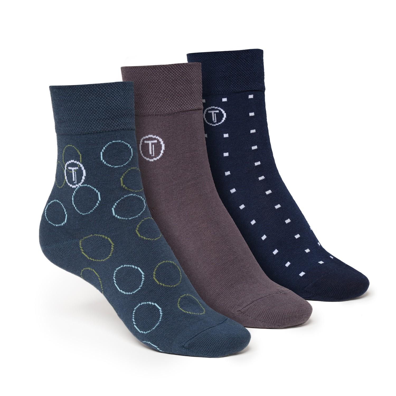 3er Pack Mid-Top Socken Grey/Circle/Cube GOTS Fairtrade