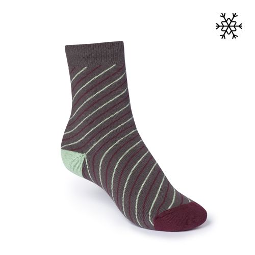ThokkThokk Plush Socks Thin Striped High-Top grey/mint/red made with organic cotton // Organic and Fair