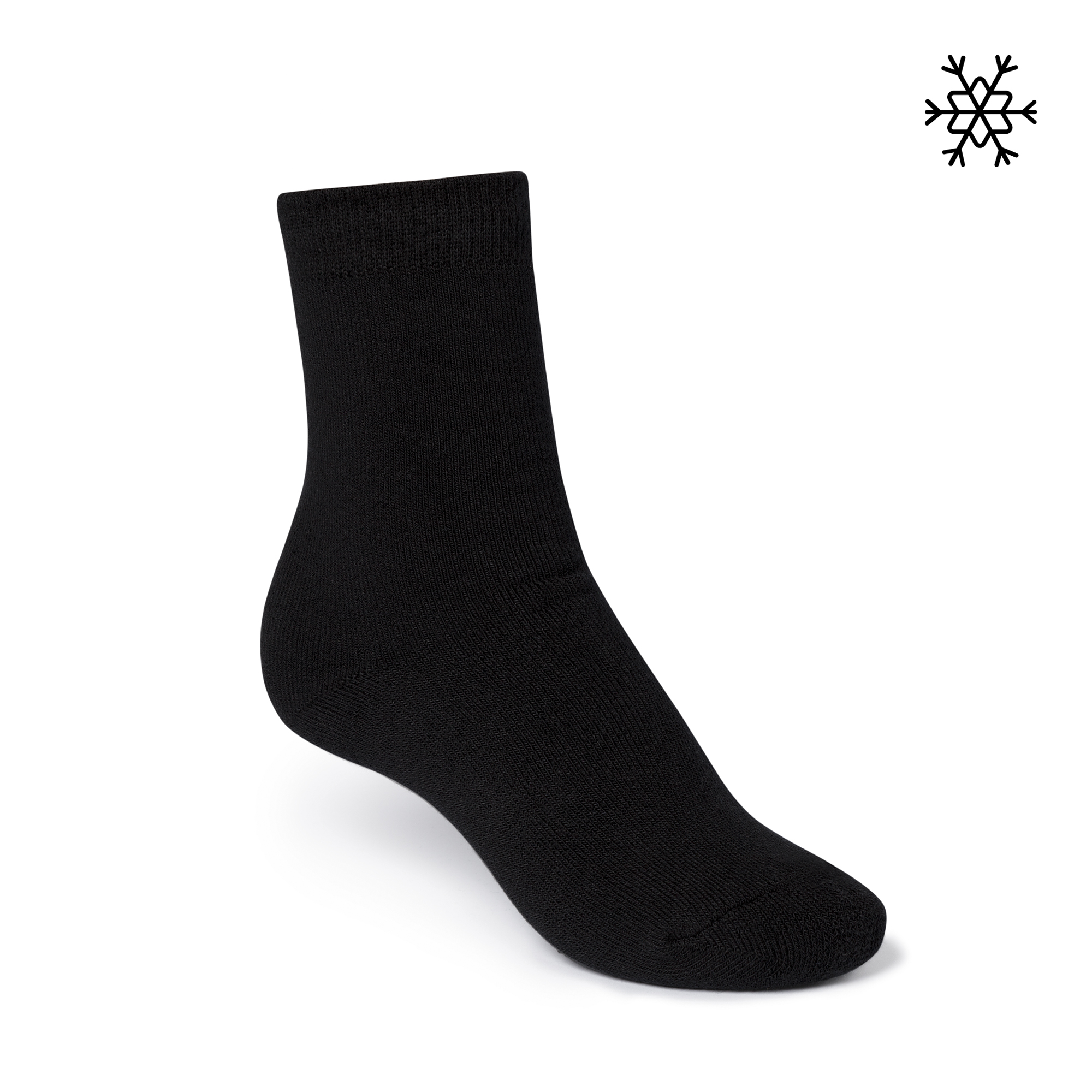 Plain High-Top Plüsch Socken black