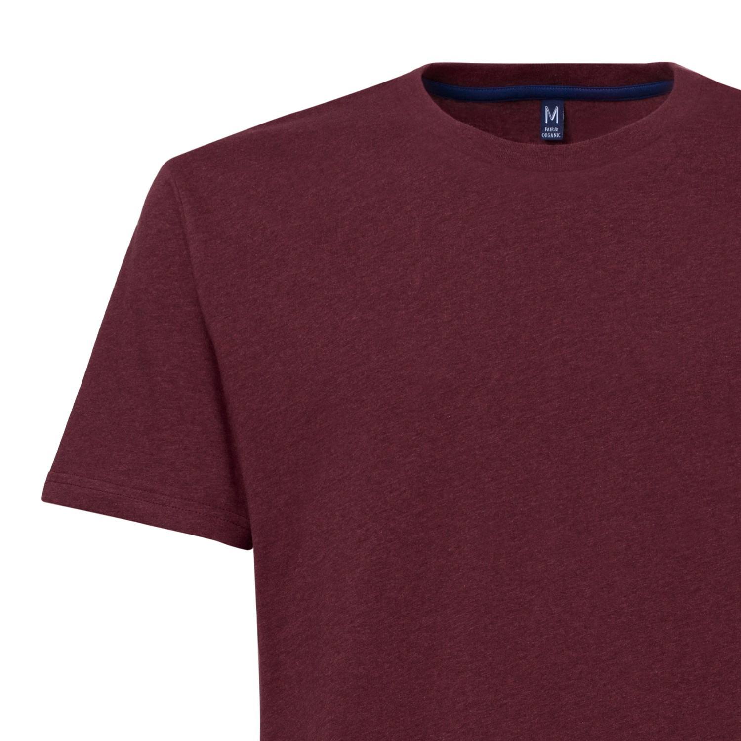 Tt02 t shirt dark red melange gots fairtrade gentlemen t Fair trade plain t shirts