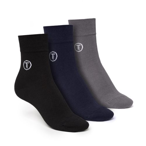 ThokkThokk Socken Mittelhoch Schwarz Grau Blau 3er Pack Bio