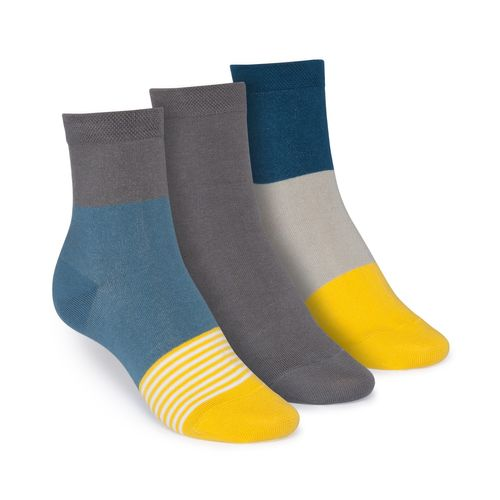 ThokkThokk 3er Pack Mid-Top Socken Triple Striped/Graphite/Triple GOTS Fairtrade