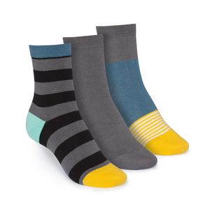 ThokkThokk 3er Pack Mid-Top Socken Tape/Graphite/Triple Striped GOTS Fairtrade