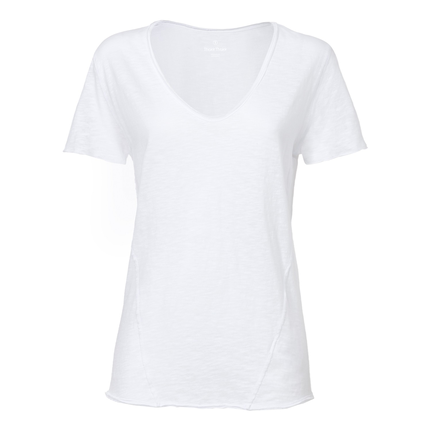 ThokkThokk Damen Raw Edged V-Neck T-Shirt White...