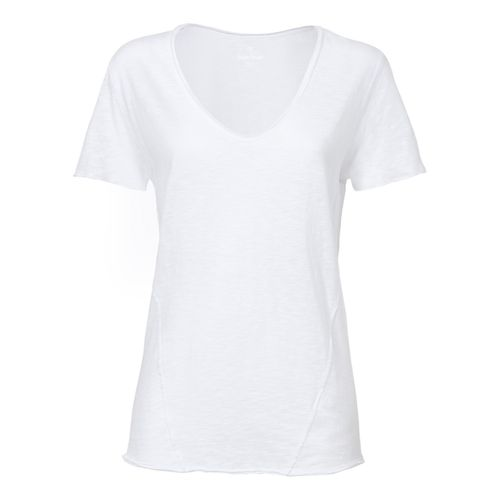 ThokkThokk Damen Raw Edged V-Neck T-Shirt White Bio & Fair